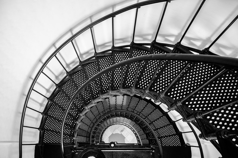 Yaquina Head Lighthouse Staircase - Black & White