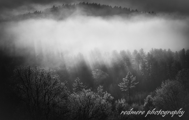 A Chilly Winter Morning Along Hillside Road as the Fog Rolls Across the Ridge in Quechee, Vermont