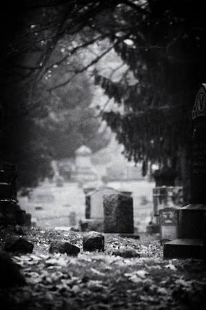 Scene in the cemetery