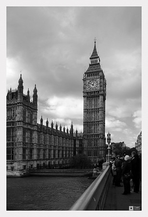 The north end of the Palace of Westminster and the Elizabeth Tower with the great bell nicknamed Big Ben.