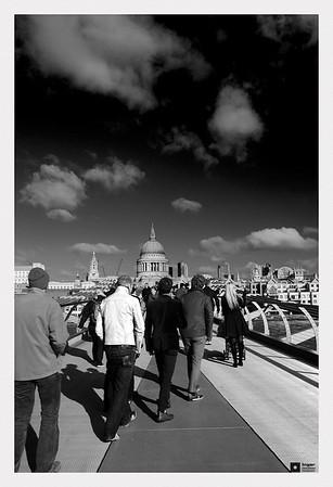 Crossing the Millenium Bridge.