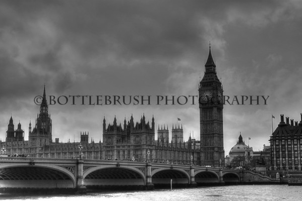 The Palace of Westminster, Elizabeth Tower and Westminster Bridge in London, England.