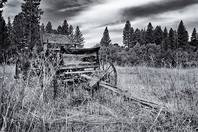 Old buckboard hay wagon found abandoned in a field in the foot hills of the Cascade Mountains of north central Washington.  The Ford truck of the 1800 and early 1900's.