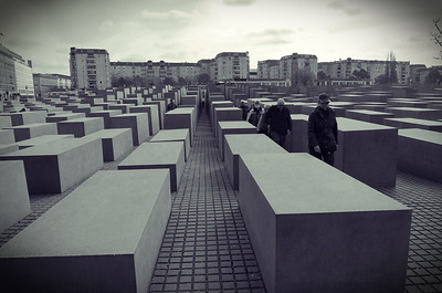 "Memorial to the Murdered Jews of Europe.  The Memorial is set in a 19,000 meter site in the middle of Berlin, it has a total of 2,711 concrete slabs or ""stelae"" placed in an irregular field. The Memorial is meant to create an illusion of instability in an apparent system of order, and how this system is futile in time. Each of the ""stelae"" has different heights to help create this instability as does the irregular floor."