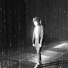 Walking in the Rain Room at Los Angeles County Art Museum in California black and white