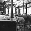 Homeless Woman Riding the Bus in Orange County California black and white