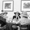 Ladies having tea at Huntington Gardens in Pasadena California black and white