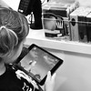 Cute Girl with Ipad black and white