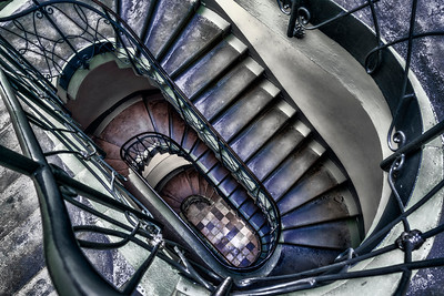 Potsdam Palace Stairs Color Black and White