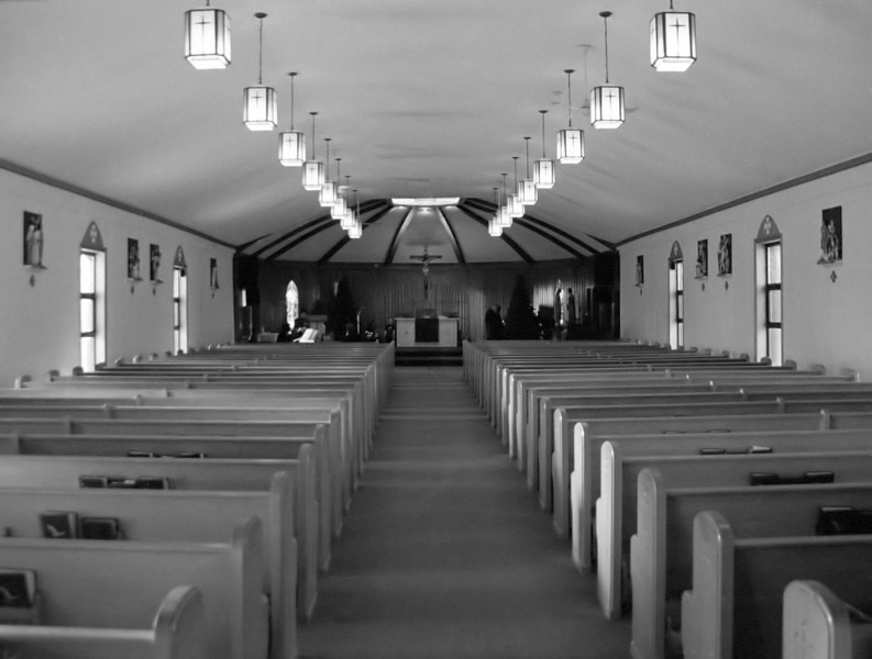 Inside the local Catholic Church using a Minolta Maxxum 7 loaded with efke KB 400 b&w film (from Croatia) developed in Kodak D76 for 9.25 minutes at 18C. Flash was not used.