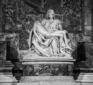 Mary and Jesus Statue Black and White
