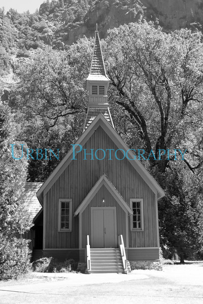 Yosemite Chapel in Yosemite National Park.  One of the historic buildings in Yosemite Valley.
