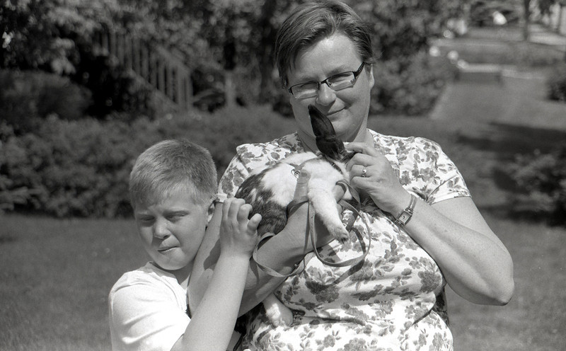 Wendy, John and Kinder in the back yard on a bright sunny day. <br /> <br /> I don't recall what camera I was using off hand (either a Leica R4 or a Minolta Maxxum 7) but the film used was Fomapan 100. This is the first time I've used this film.<br /> <br /> Developed in Rodinal 1:50 for 8 minutes at 20C.