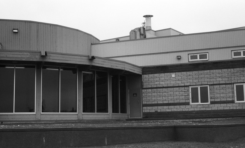 Not sure what this building is used for but I drive by it pretty much on a daily basis.<br /> <br /> Pentax ME loaded with ORWO UN54 rated at 100 iso. Film developed in HC-110 dilution J (1:150) for 20 minutes at 18C. Agitated first 60 seconds then again for 5 seconds after each 30 seconds.