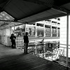 Riding the El in Chicago Illinois 2 Black and White