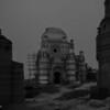 Ruins of shrine just before dark