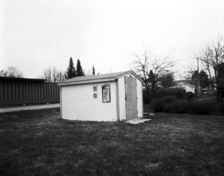 Camera used was a pinhole camera with a F300 aperture. Film was Arista EDU 100 iso 4x5 inch sheet film. The exposure time was 93 seconds. Tray developed in HC-110.<br /> <br /> This was the first photo I've taken with this camera and this image was basically a test shot.<br /> <br /> Minimal ps work done: boosted the contrast, some curves, levels, some spotting in the sky, and yes - some sharpening. And of course resized.
