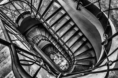 Potsdam Palace Stairs Black and White