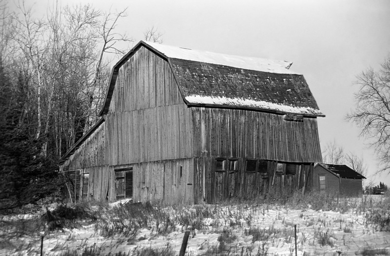 Local barn east of town. Hard to tell from this angle but the barn is starting to fall down. It's just a matter of time.<br /> <br /> The barn, built in 1928, finally collapsed during the summer of 2010.<br /> <br /> Maxxum 7 with Ilford FP4+.