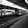 Riding the El in Chicago Illilnois 4 black and white