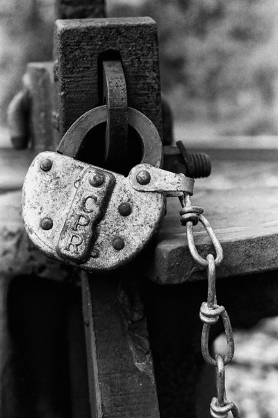 Close up of a CPR switch lock.<br /> <br /> Pentax K1000 SE with a Pentax-M 50mm F2 lens, T- Max 100 developed in D76 for 6 minutes and 45 seconds at 22C.