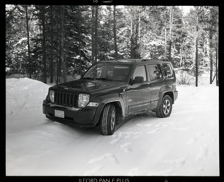 Went out to the local Doppler Radar site to get some photos with my GW 670 II medium format camera and had one shot left so I decided to use it on the Jeep.<br /> <br /> Fuji Professional GW 670 II medium format camera loaded with Ilford Pan F+ (50 iso) film which was developed in Kodak D76 1:1 for 11.75 minutes at 19C. This is another shot from the first roll of 120mm film that I developed myself at home. To meter the scene I used my hand held Sekonic L-308S light meter.