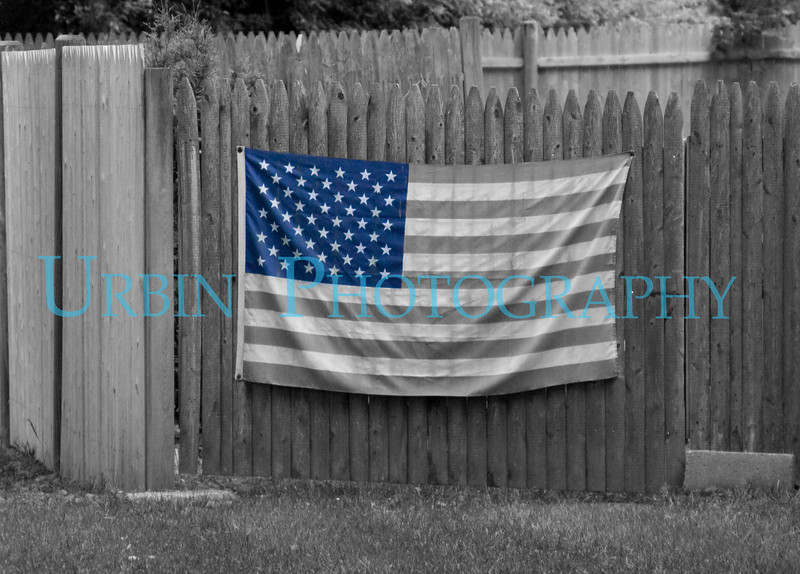 The American flag seen near my house with a bit of selective color editing.