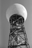 The top of the local Doppler Radar dome. Yes, it has a tilt - I planed it that way.<br /> <br /> Minolta Maxxum 7, Sigma 28-300mm lens, Arista Ultra b&w film (Czech Republic) developed in Kodak D76 1:1 for 8.5 minutes at 20C.