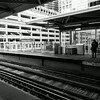 Riding the El in Chicago Illinois (2) black and white