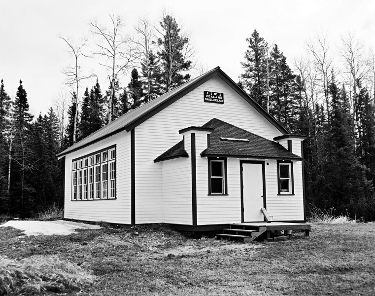 One room schoolhouse on a overcast day<br /> <br /> Photo taken with a Graflex Speed Graphic 4x5 camera (1940-1946) loaded with Ilford FP4+ (125 iso) 4x5 inch sheet film tray developed with Kodak D76 1:1 for 12.25 minutes at 19C.