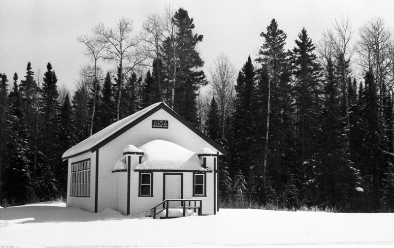 Shallow Lake School on a sunny winter day. <br /> <br /> Photographed on ORWO UN54 (cine film) b&w film and semi stand developed in HC-110 using the unofficial dilution 'J' (1+150) for 60 minutes at 19C. Initial agitation first 60 seconds then again for 10 seconds at the 30 minute mark. I used my Leica R4 to take the photo.
