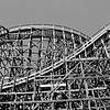 Old Wood Roller Coaster at Knott's Berry Farm in Orange County California, black and white