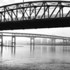 6-19-10 Bridgetown 2 B&W Portland Oregon   Hawthorne Bridge, Marquam Bridge, Ross Island Bridge (closest to furthest)  <b>2011 Calendar - February</b>