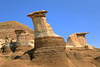 Famous Hoodoos in Drumheller Alberta on a sunny day