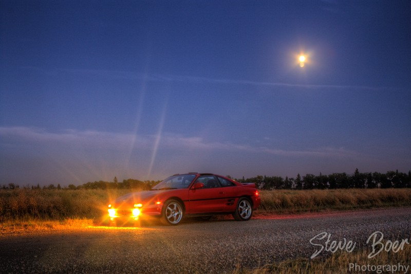 MR2 with moon