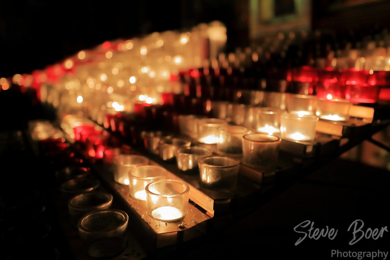 Prayer candles in Notre-Dame Basilica Montreal
