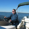 Tracy driving the boat.