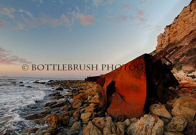 "Remains of a WWII era ship called the ""SS Dominator"" off Rocky Point in Palos Verdes Peninsula in the South Bay area of California. It ran ashore in 1961."