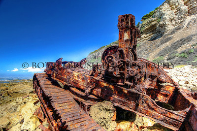 "Bulldozer remains from the ship ""SS Dominator"" off Rocky Point in Palos Verdes, California. Ran aground in 1961"