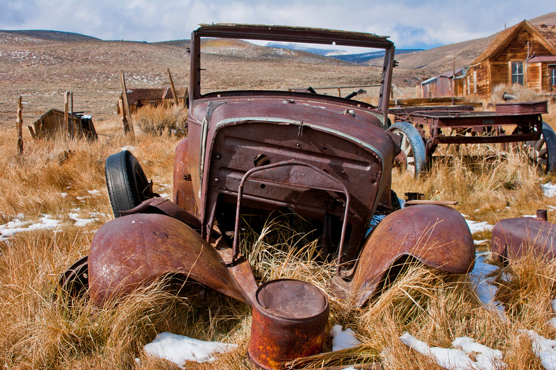 BE105  Bodie State Park.   One of several old rusted cars on site.