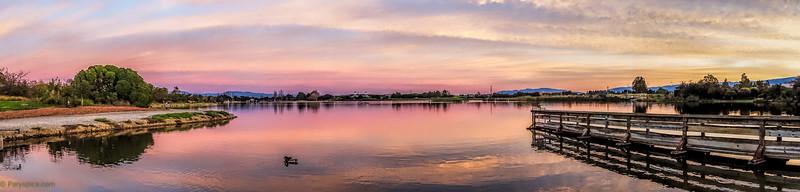 Sunset at shoreline lake, CA