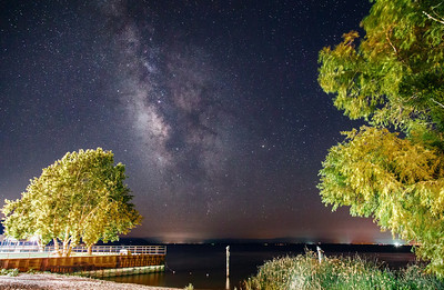Long exposure shot of the beautiful milky way over clear lake,CA