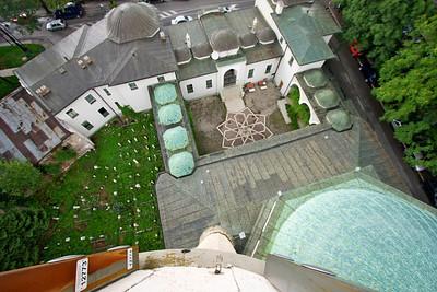 Courtyard from atop Minaret - Emperor's Mosque, Sarajevo