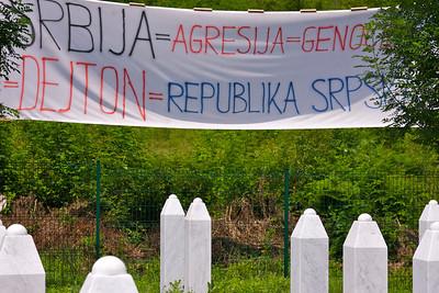 """Serbia = Aggressor = Genocide = Dayton = Republika Srpska"", Srebrenica Genocide memorial [about] - Srebrenica/Potocari"