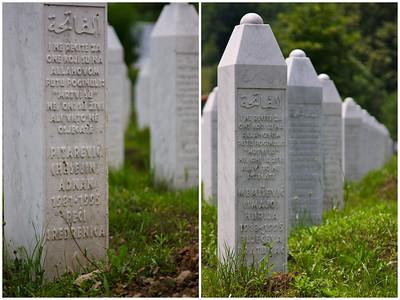 14 and 77-year old victims, Srebrenica Genocide memorial [about] - Srebrenica/Potocari