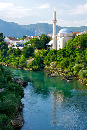 Koski Mehmed pasa Mosque on bank of Neretva - Mostar