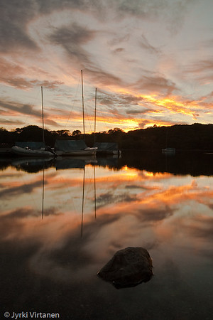 Jamaica Pond Boats at Sunset - Boston, MA, USA