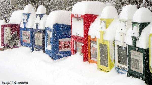 Newspaper Boxes in Snowstorm - Boston, MA, USA