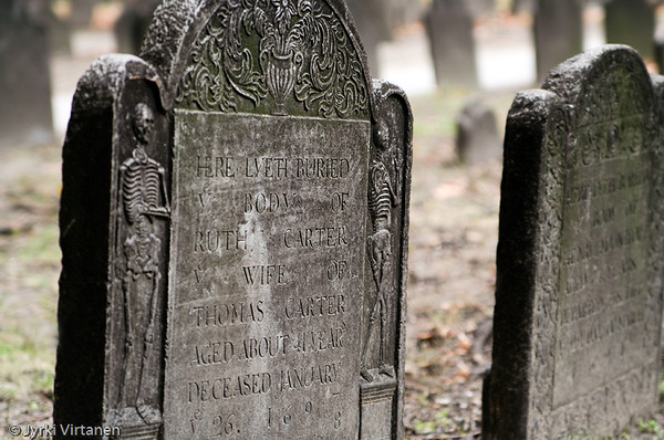 Tombstones at Granary Burying Ground - Boston, MA, USA