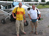 Andrew Goldman and Carlo Iori in front of small plane that took them to Xakanaxa, Moremi Game Reserve, Okavango Delta, Botswana